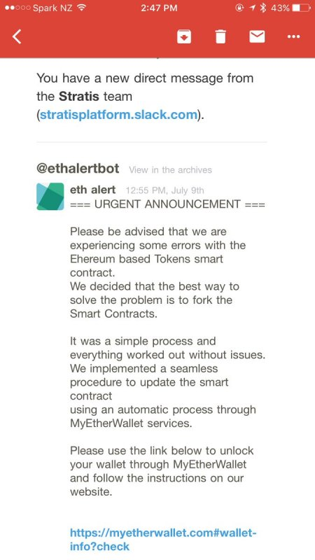Fake MyEtherWallet Slack Message