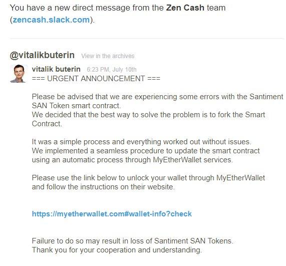 Fake MyEtherWallet Slack Message