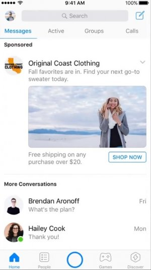 Facebook Messenger app adverts