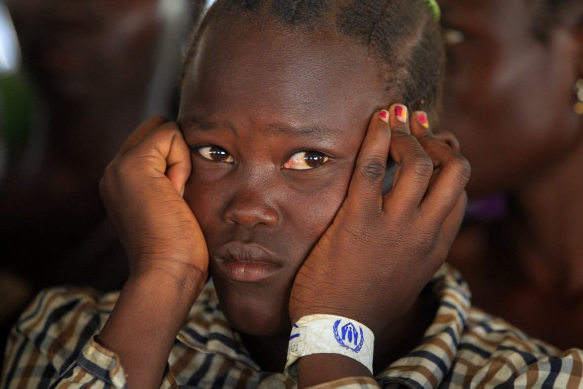 girl fled fighting in South Sudan