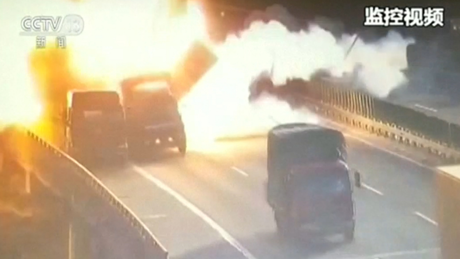 Dramatic Movie Style Truck Blast Captured On CCTV In China