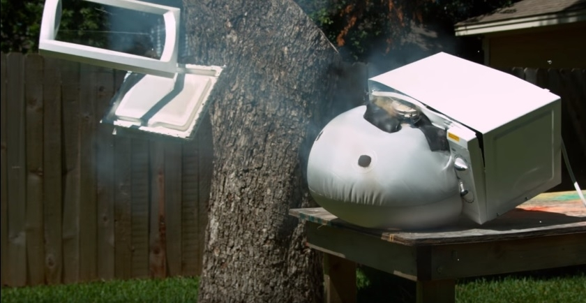 Airbag explosion in a microwave