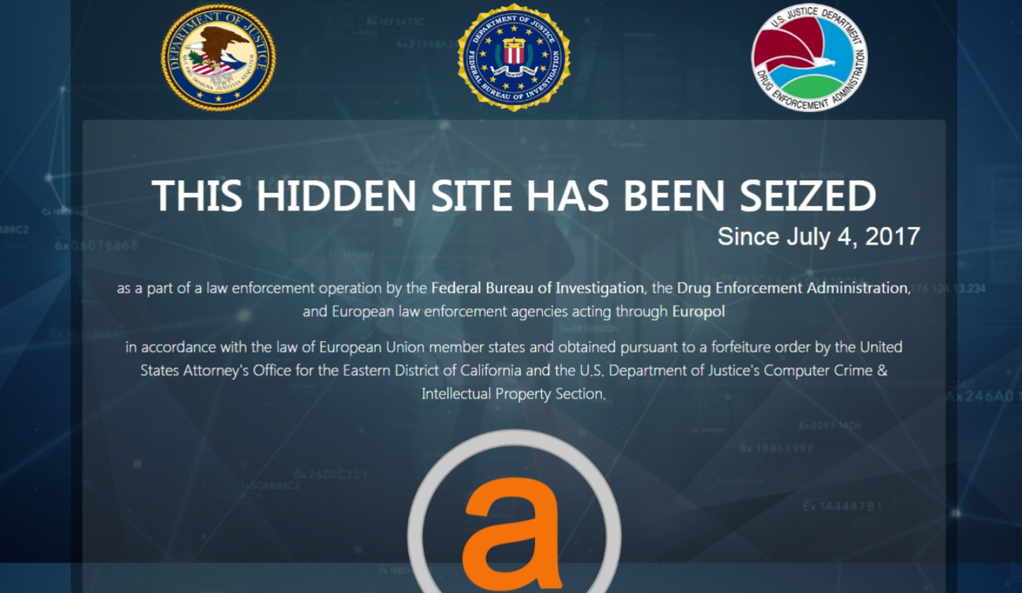 Hidden websites seized