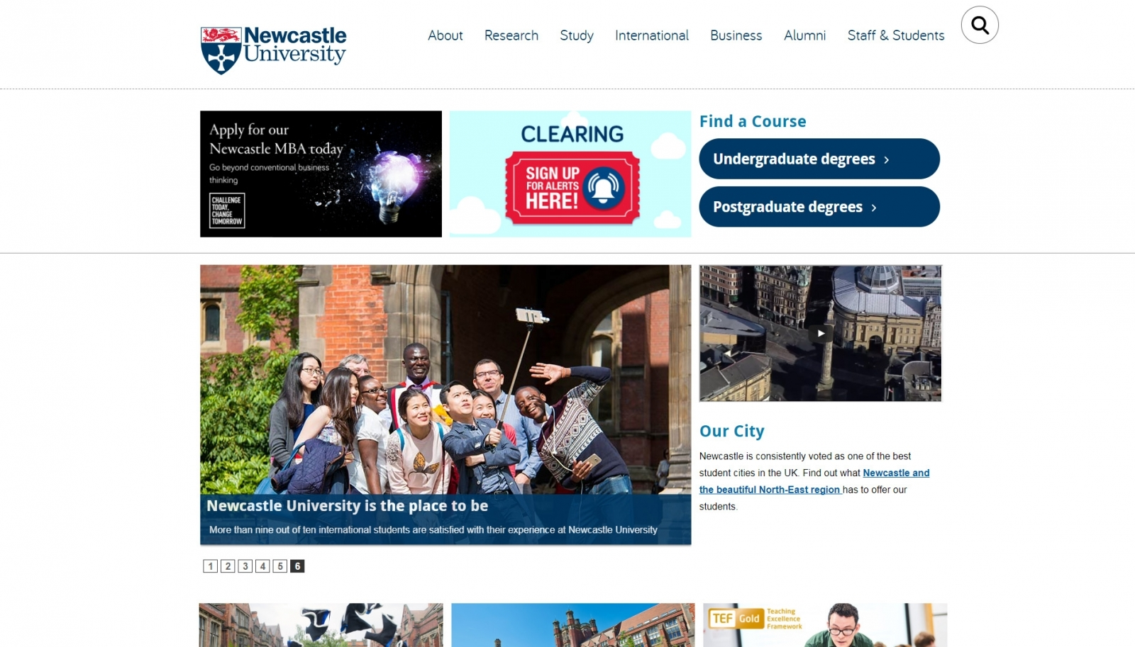 The real Newcastle University website