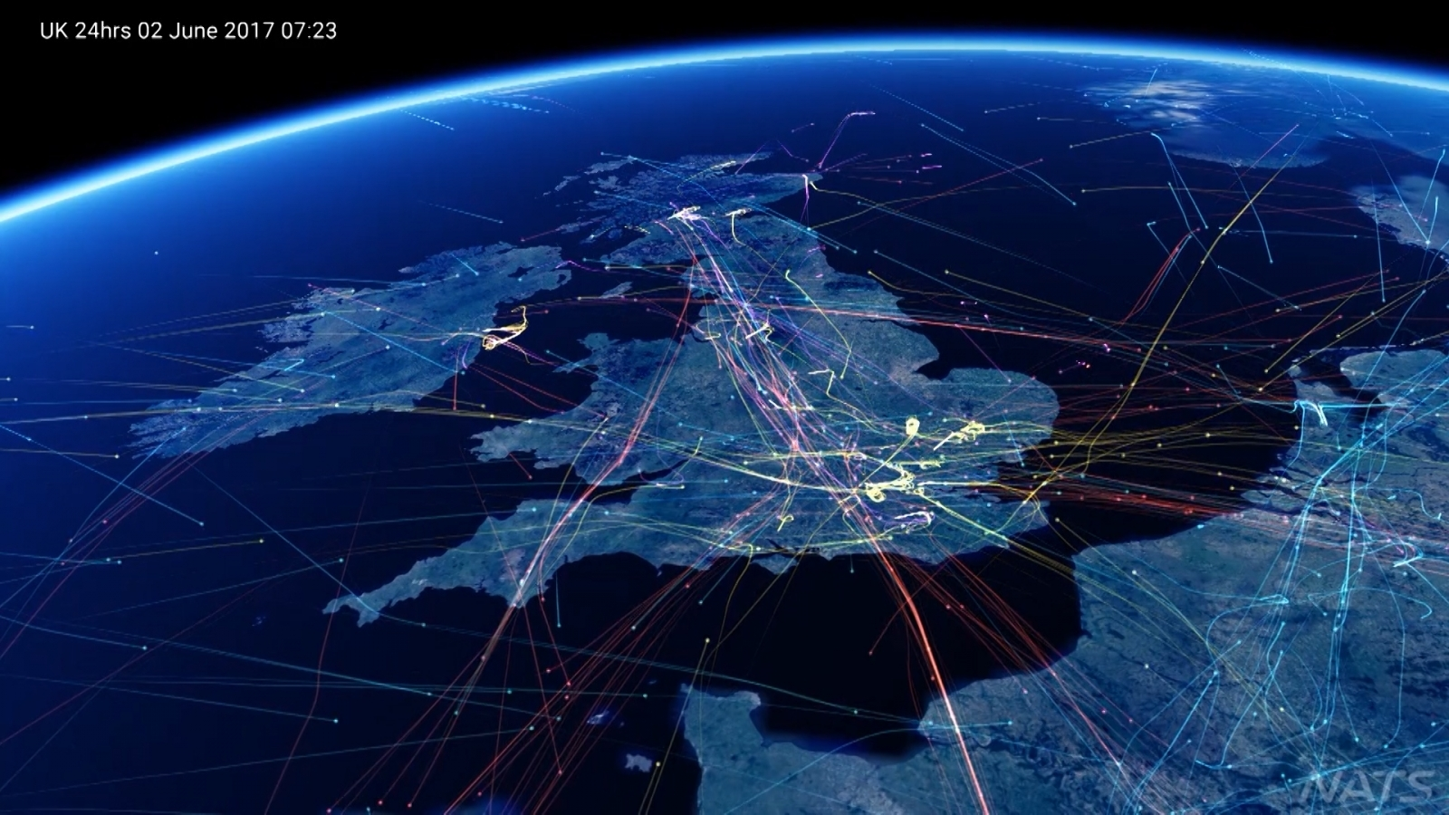 Incredible air traffic video reveals UK's busy skies