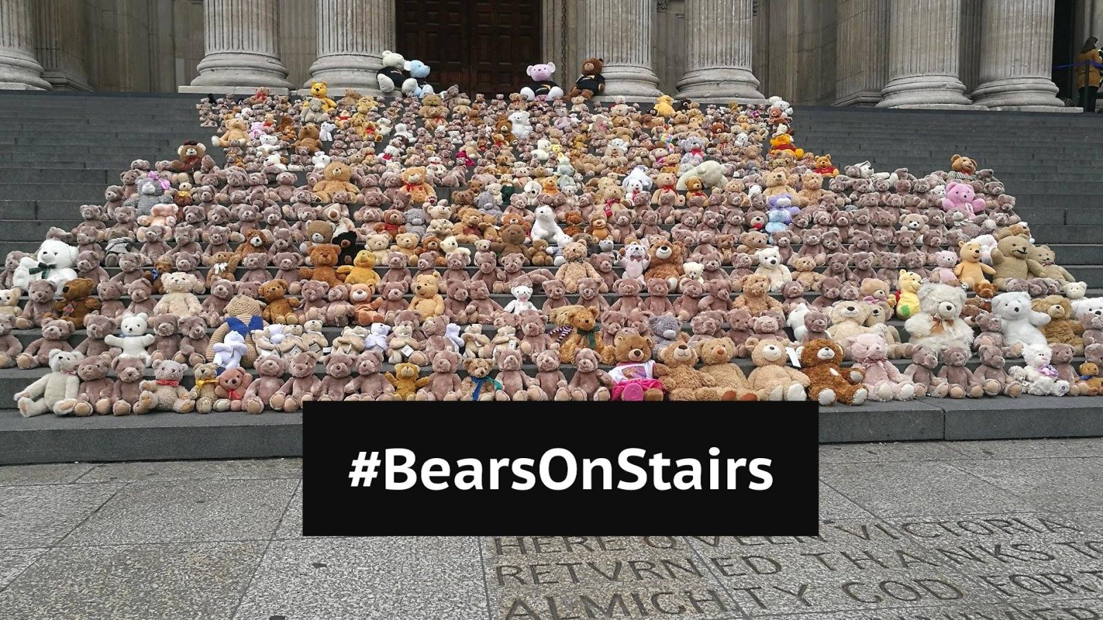 Bears on stairs