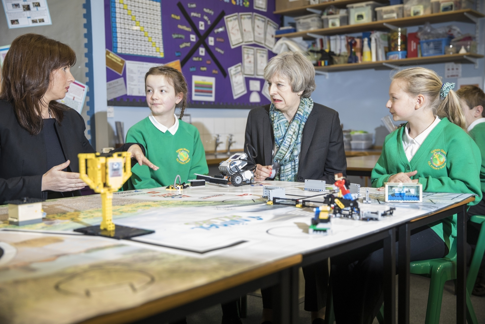 Theresa May visits a school