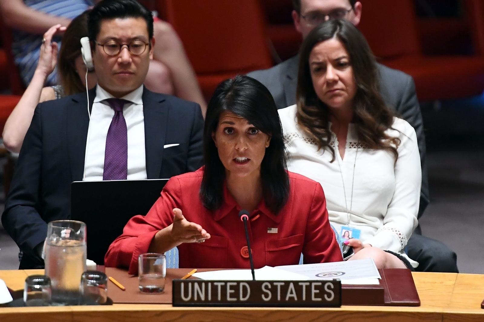 Nikki Haley at UN Securiy Council meeting