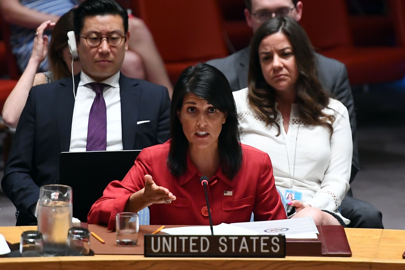 Nikki Haley at UN Securiy Council meeting