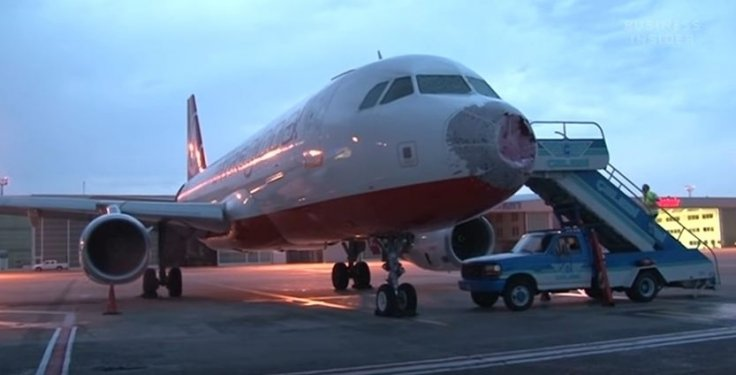 AtlasGlobal plane hit by hailstones