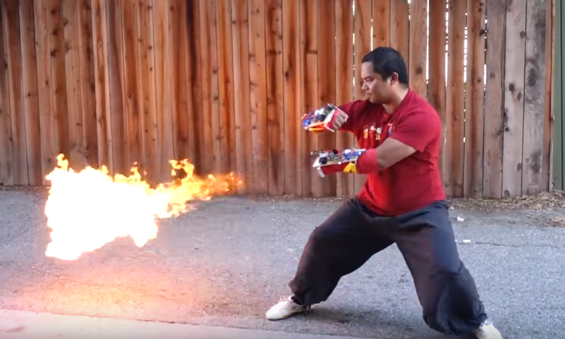 Punch-activated flamethrowers