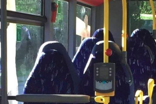 Empty bus seats mistaken for burkas