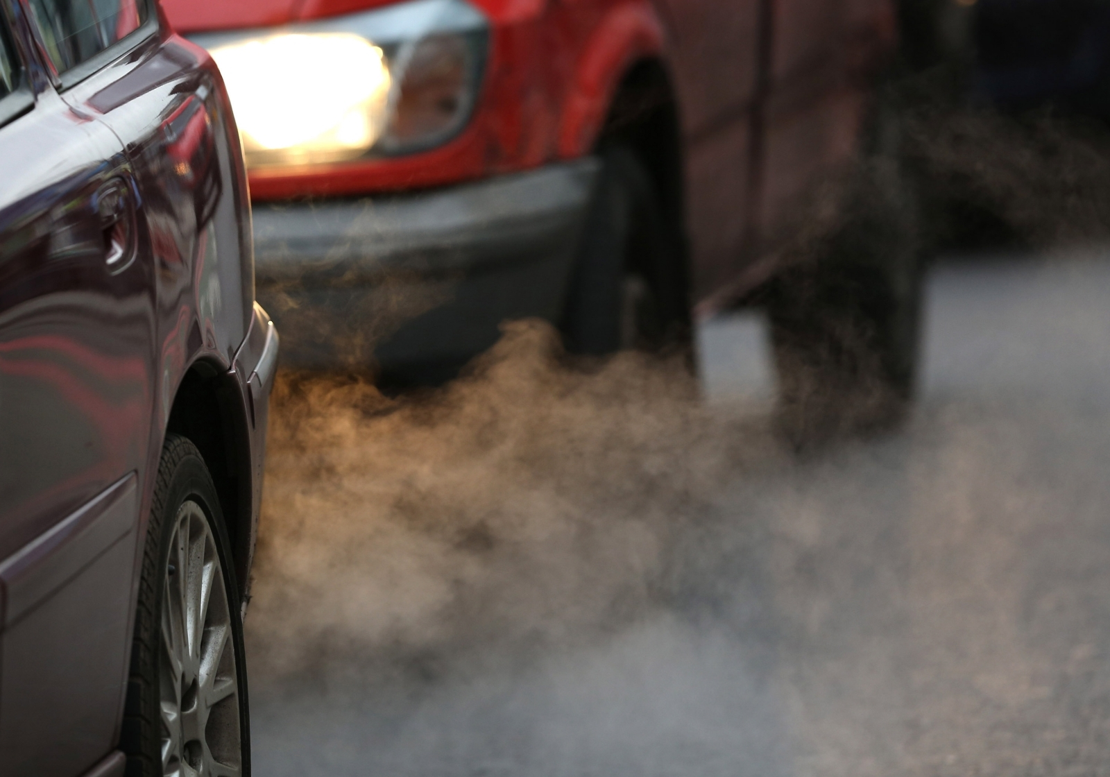 Exhaust fumes from a car in Putney High Street