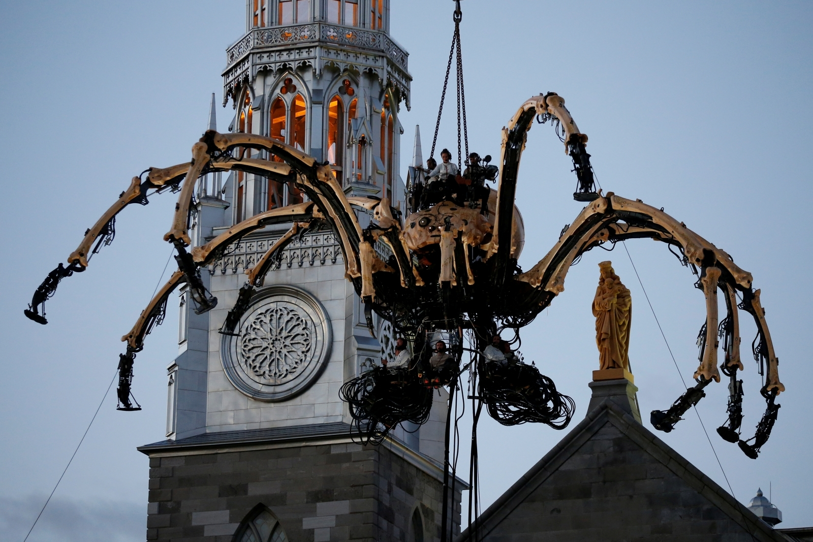 Sacrilegious Giant Robot Spider Mounted On Notre Dame