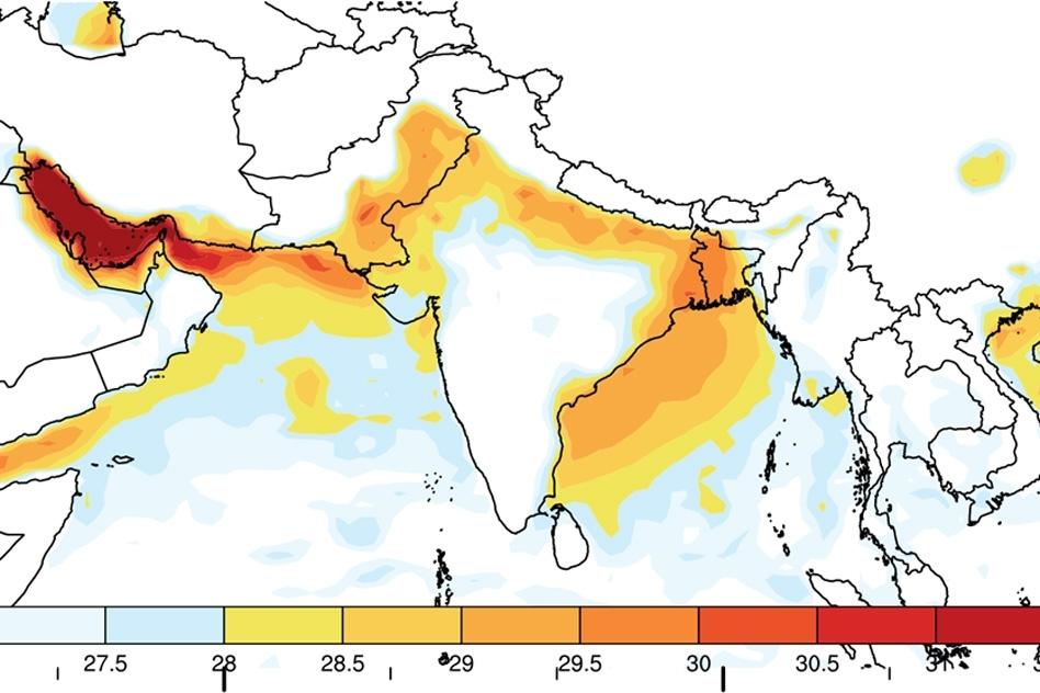 Wet-bulb temperature map