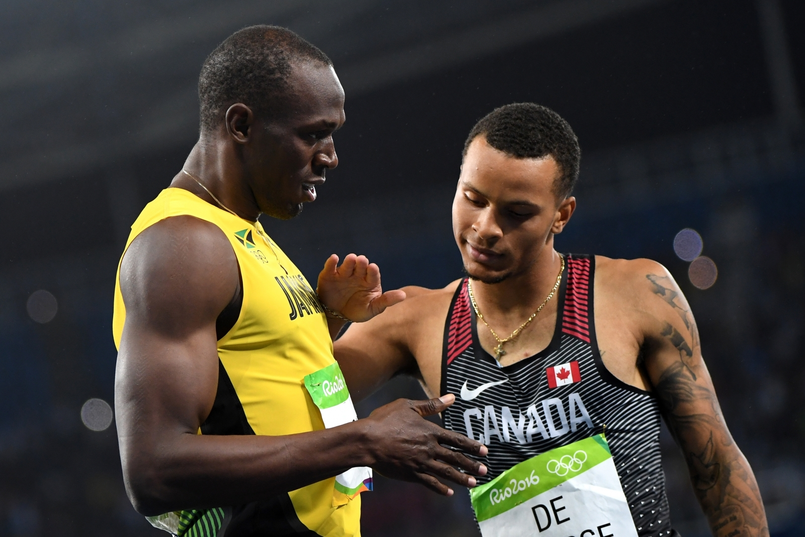 Usain Bolt and Andre de Grasse