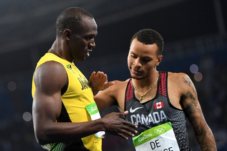 Usain Bolt and Andre de Grasse