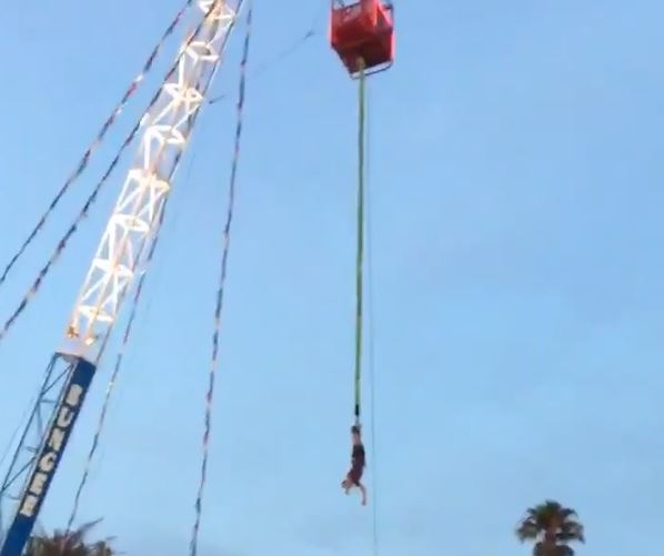Teen left hanging upside down in bungee jump gone wrong