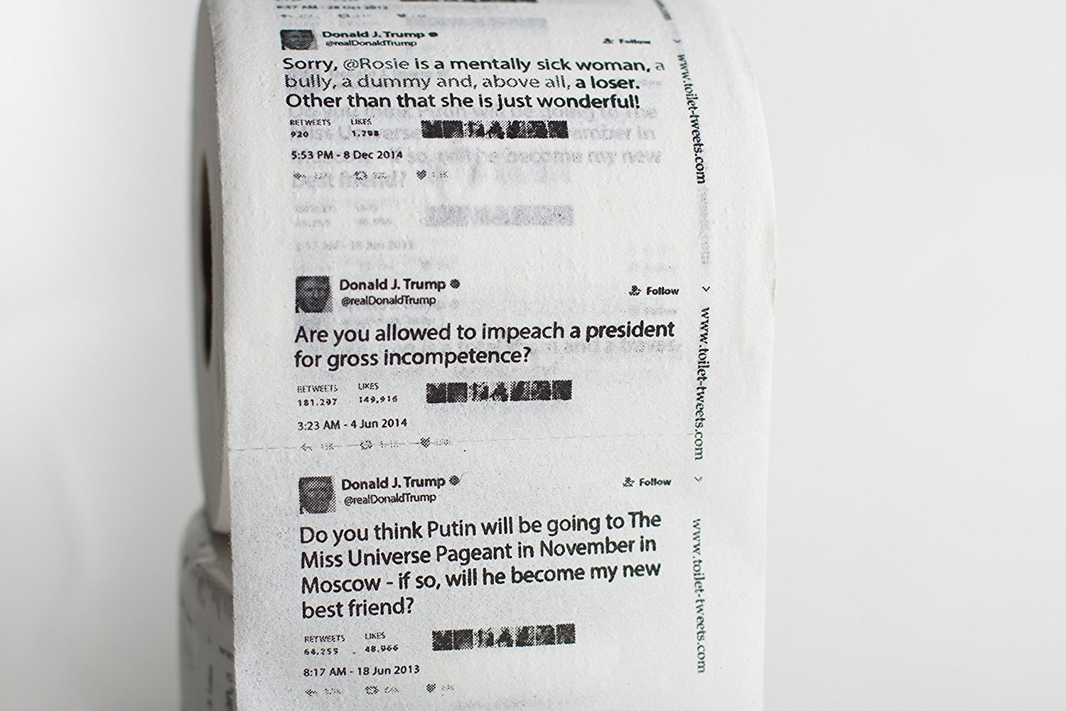 Donald Trump's shitty tweets printed on toilet paper