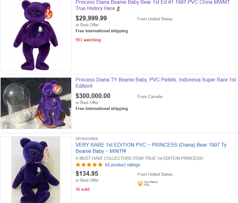 Got this Beanie Baby  Princess Diana bear is selling for  300 4b9e759f9f2