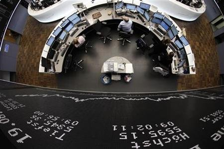 DAX board is pictured at the Frankfurt stock exchange