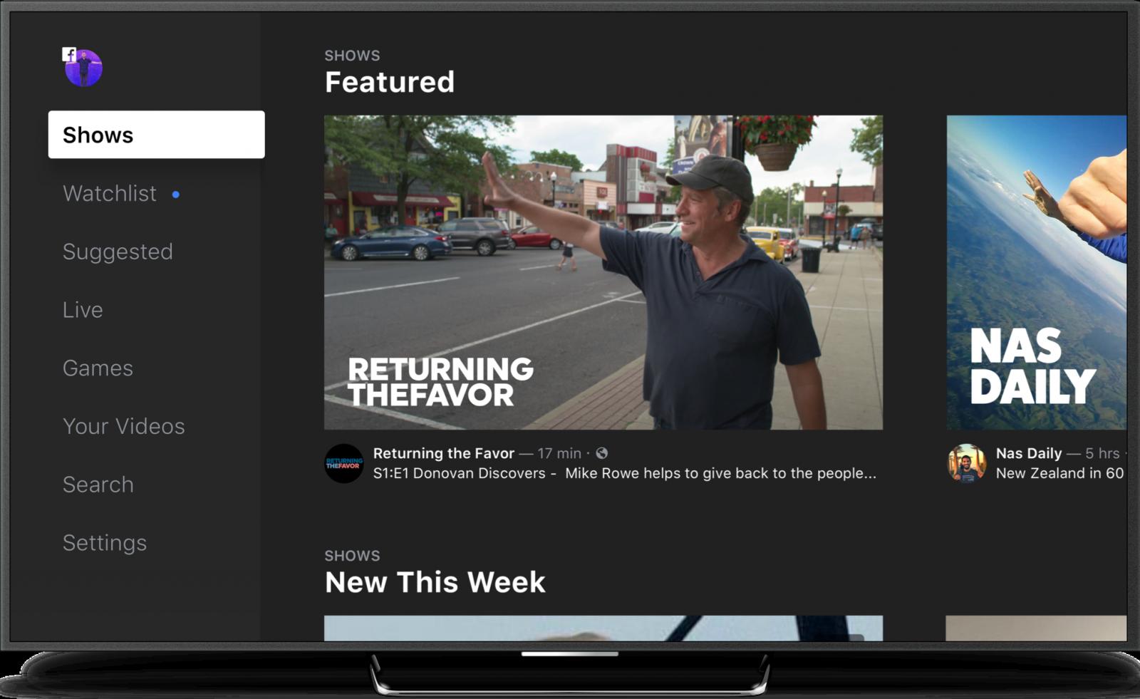 Facebook Watch TV interface