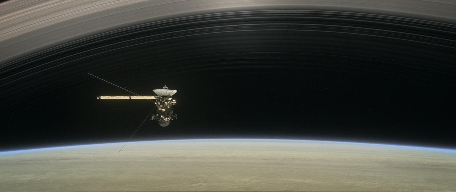 Cassini over Saturn