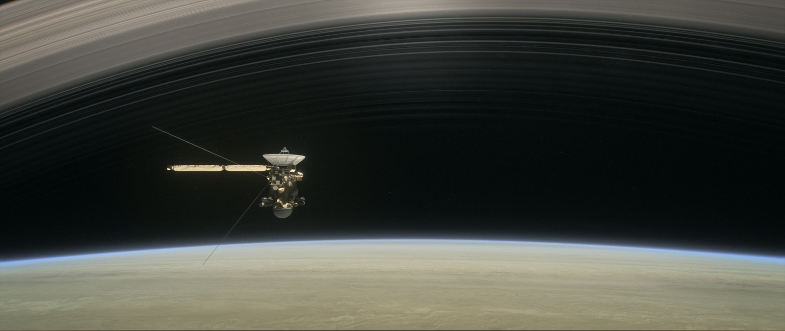 Cassini over Saturn