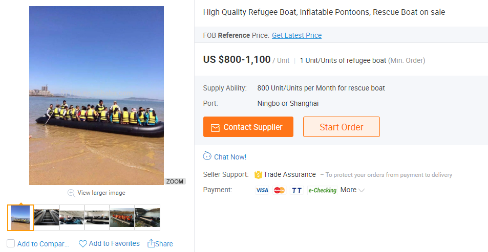 Refugee boats sold online