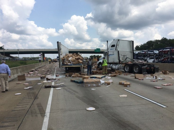 Pizza spill on the Mabelvale Road overpass on Interstate 30 in Little Rock