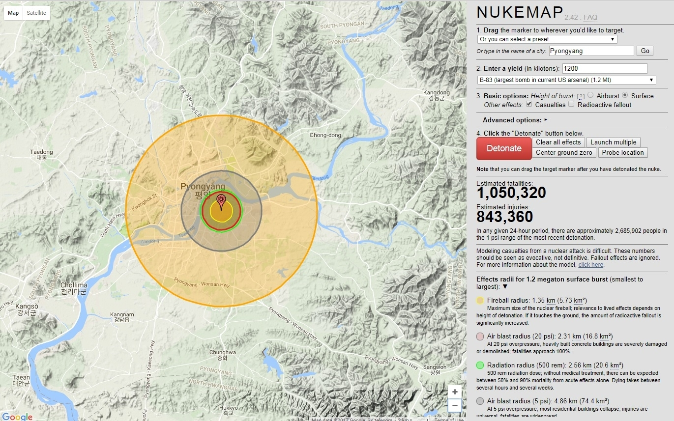 what happens if north korea drops a nuke on guam nukemap website has the answers