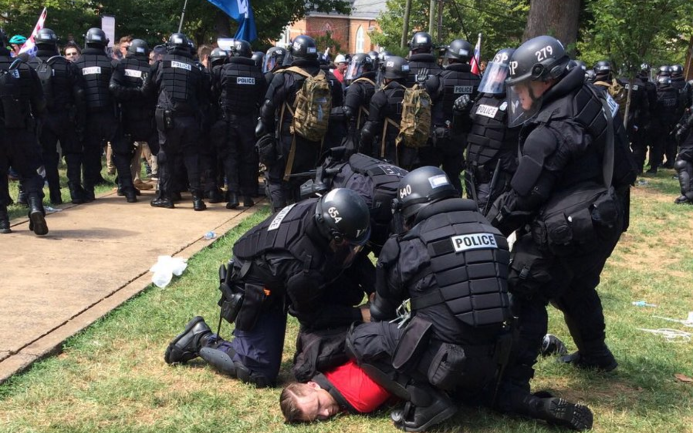 Virginia State Police arrest protester
