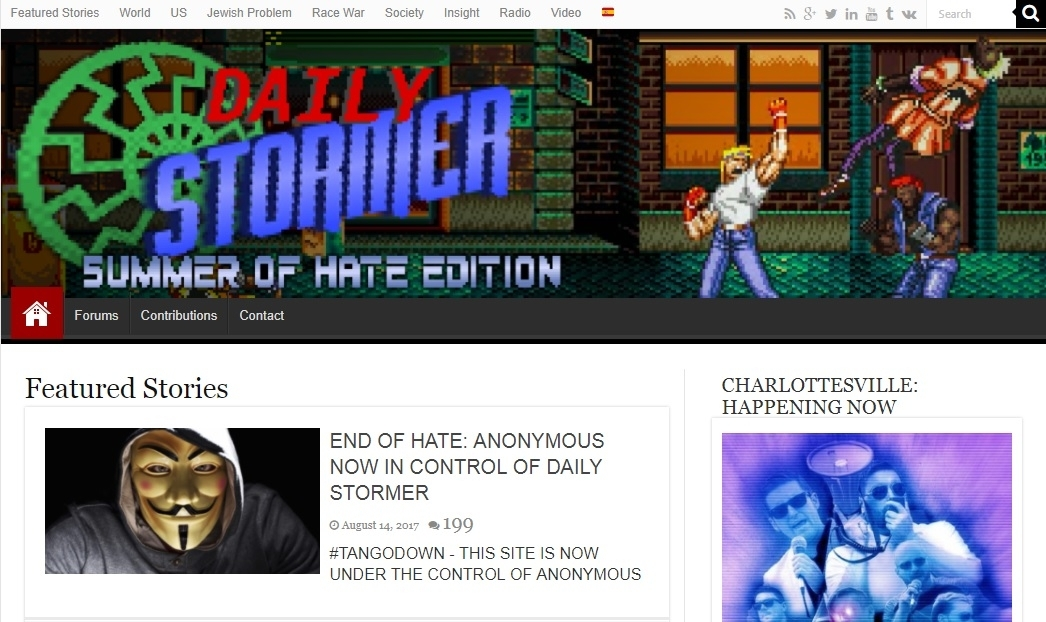Daily Stormer website with Anonymous post