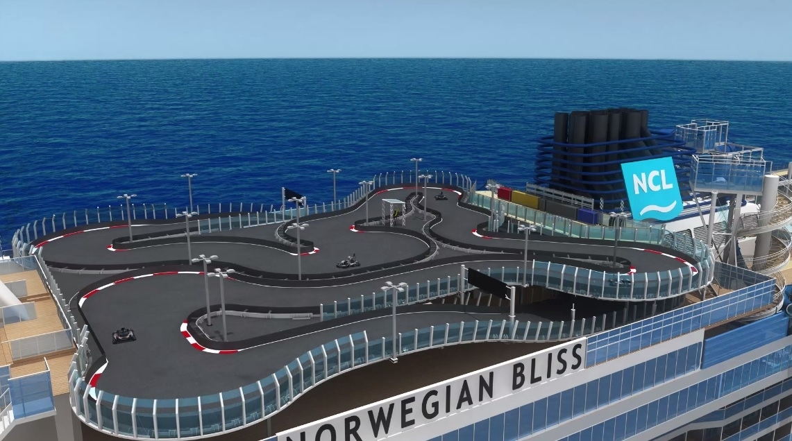 This Cruise Ship Has Laser Tag And An Electric Gokart Track On - Track a cruise ship