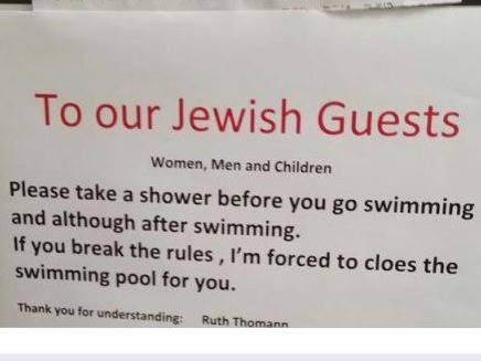 hotel sign Jewish guests