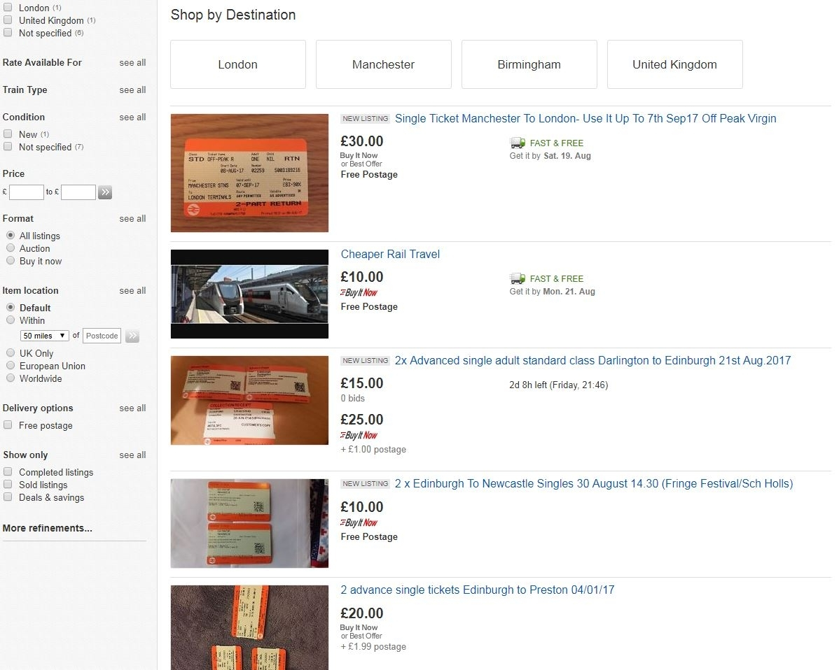 eBay discount train tickets