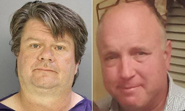 Clayton Carter, 51 (r) is accused of shooting Pennsylvania neighbour George Jennings (l), also 51 twice in the head as part of a long-running feud between the pair