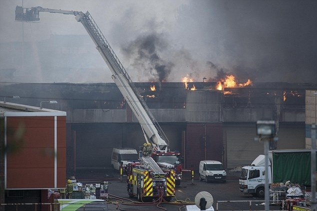Firefighters tackle a blaze at Blochairn Fruit Market