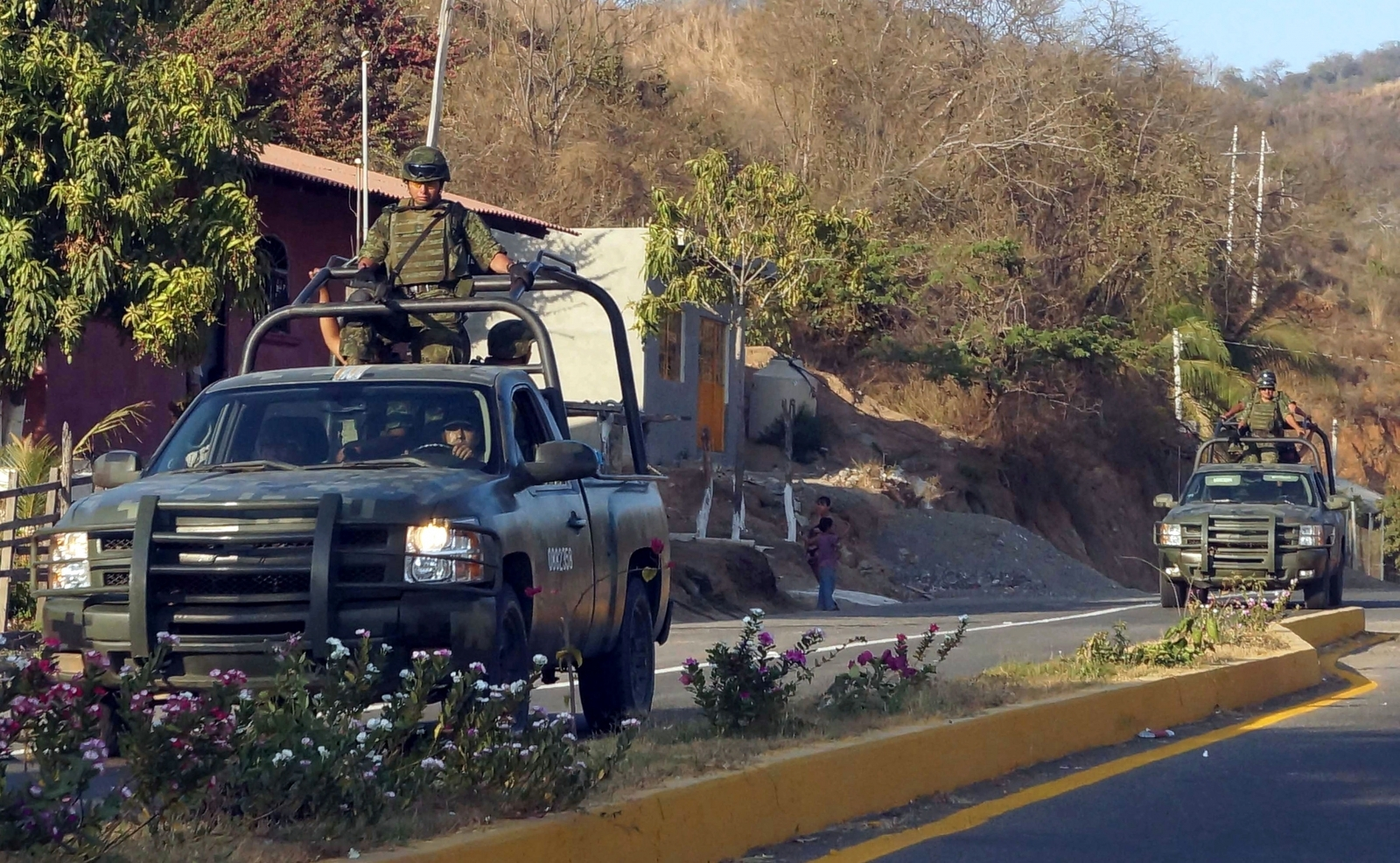 The Mexican Army patrol an area near Lazaro Cardenas port in Michoacan State