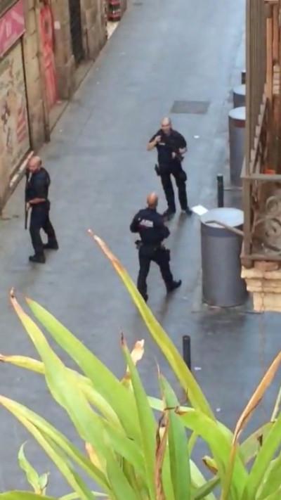 Police patrol in Barcelona terror attack