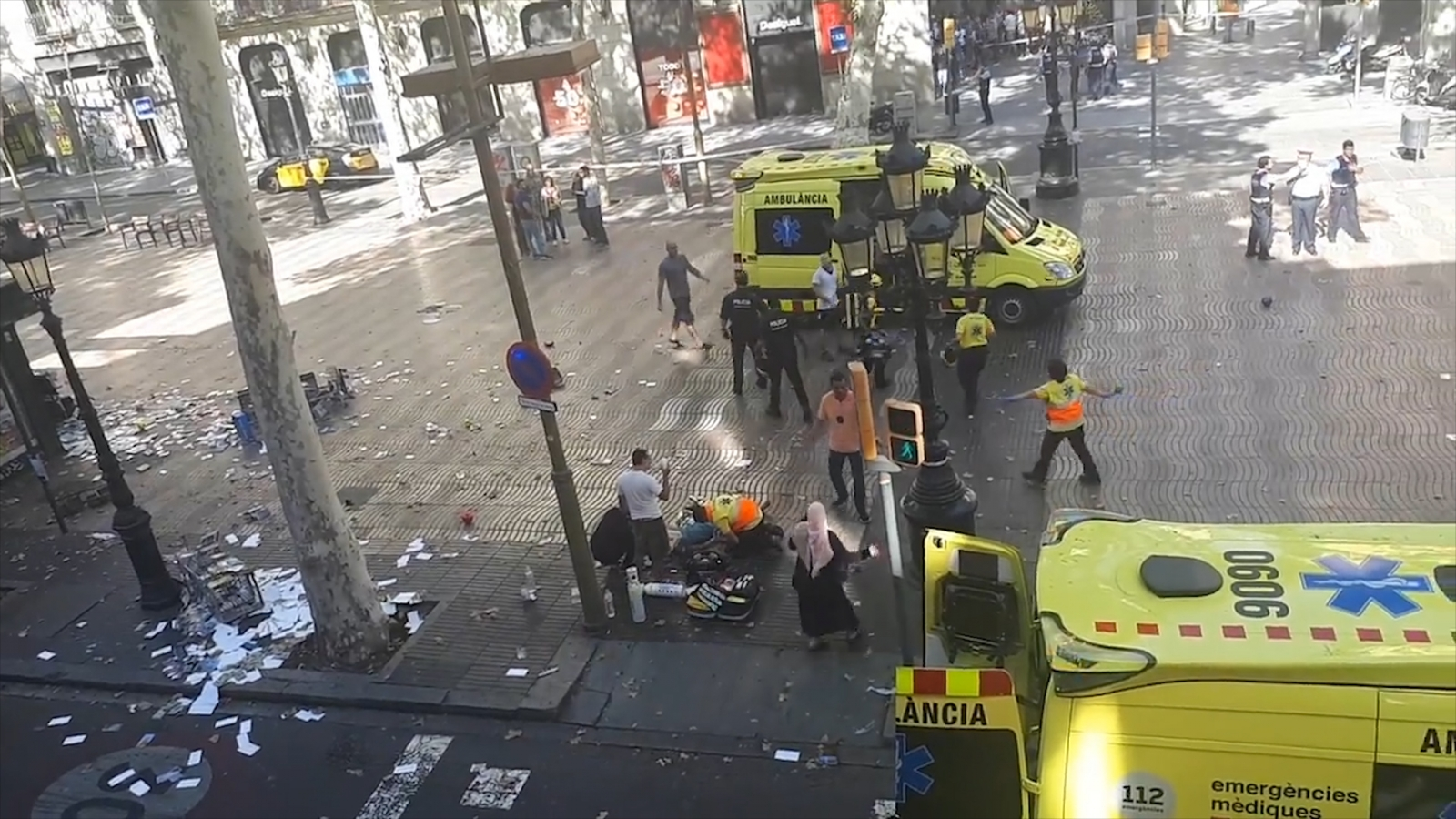 Footage shows aftermath in Las Ramblas after van ploughs into pedestrians