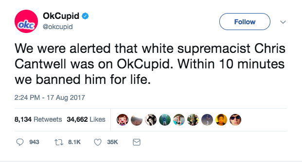 OkCupid bans racists