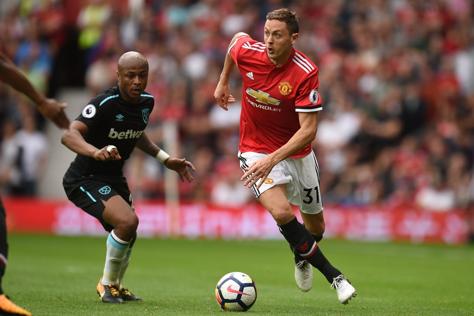 Andre Ayew and Nemanja Matic