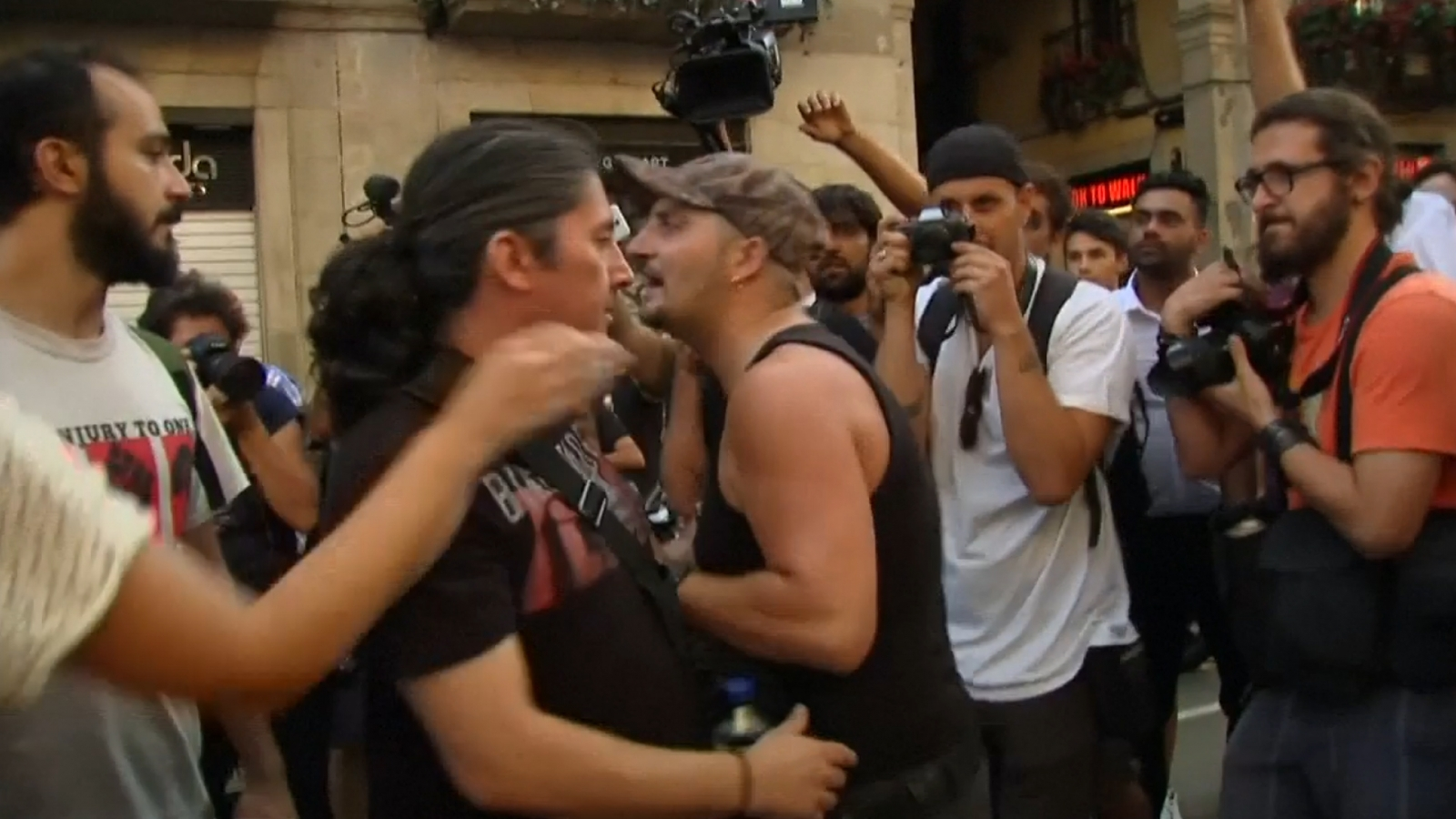 Far-right and counter-protesters clash in Barcelona after march for terror victims