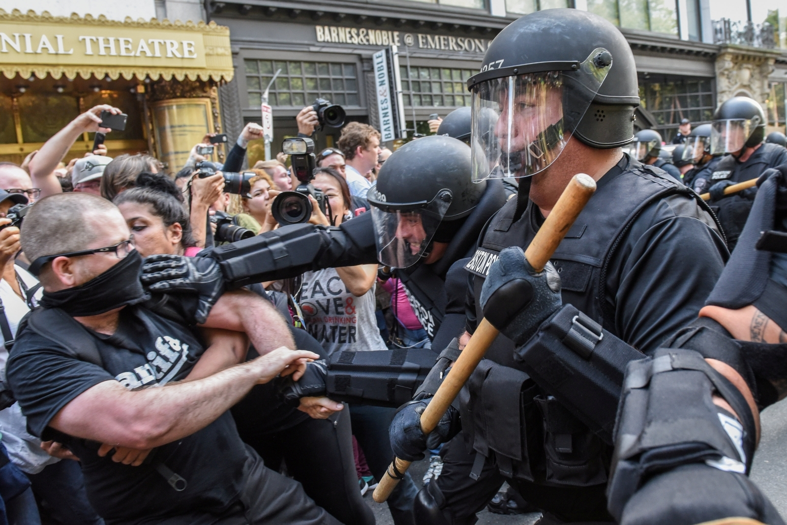 Boston Free Speech Rally Anti-Nazi Protesters