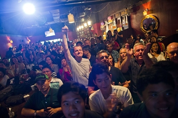 Fight fans in a bar