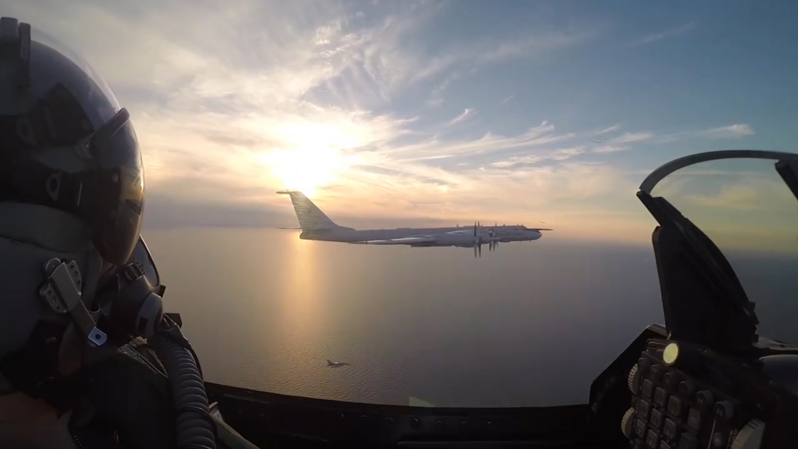 Danish pilots flank Russian 'Bear' bomber above Baltic Sea