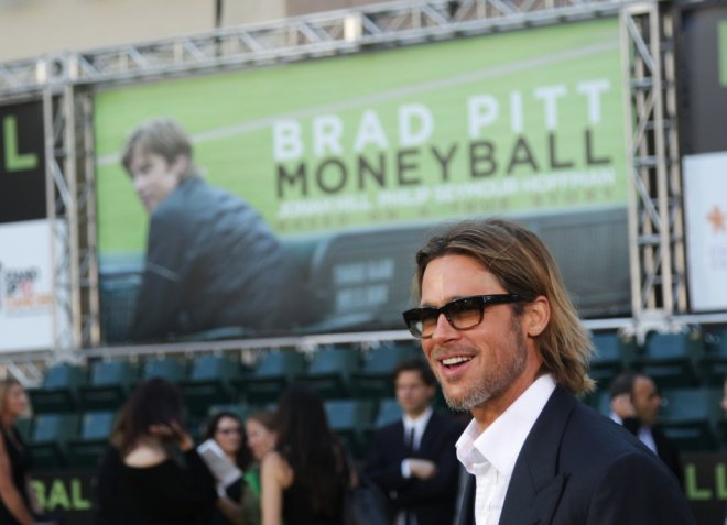 """Actor Pitt arrives for the world premiere of the film """"Moneyball"""" in Oakland"""