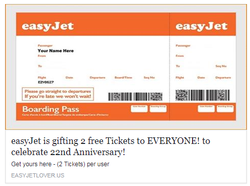 easyjet free ticket competition Facebook scam