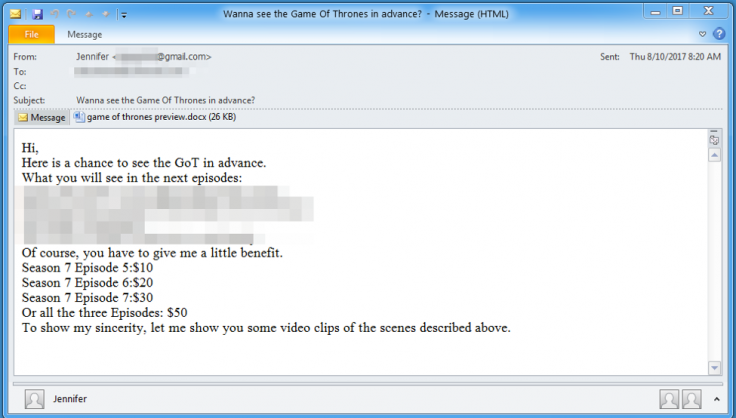 game of thrones phishing email